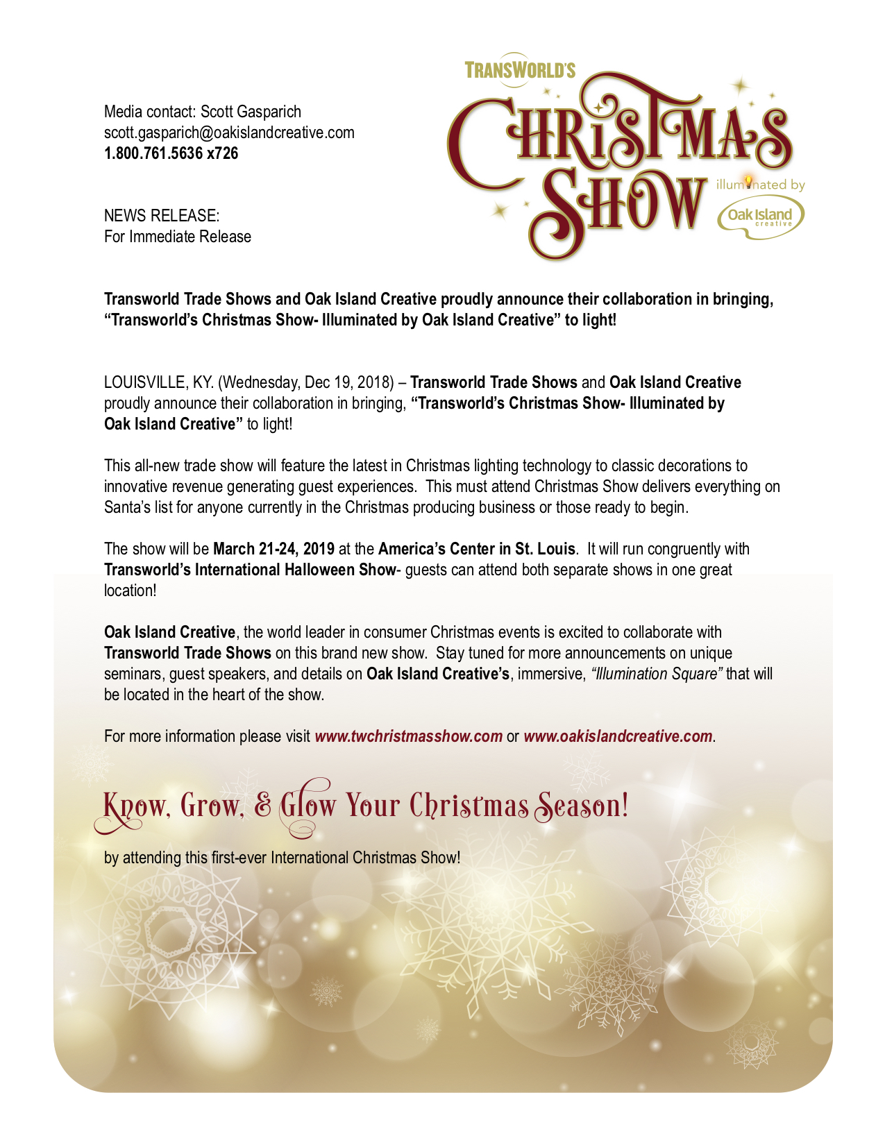 Transworld's Christmas Show illuminated by Oak Island Creative